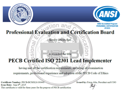 ISO 22301 Lead Implementer Certificate