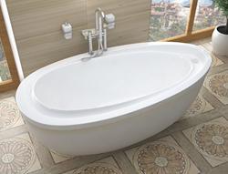 Venzi Tullia 38 x 71 x 20 Oval Freestanding Soaker Bathtub VZ3871BS