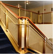 Cambridge Bead mesh was woven onto U-bar frames to provide elegant stairway railing infills at the entrance  of the Kennedy Center's Family Theater.