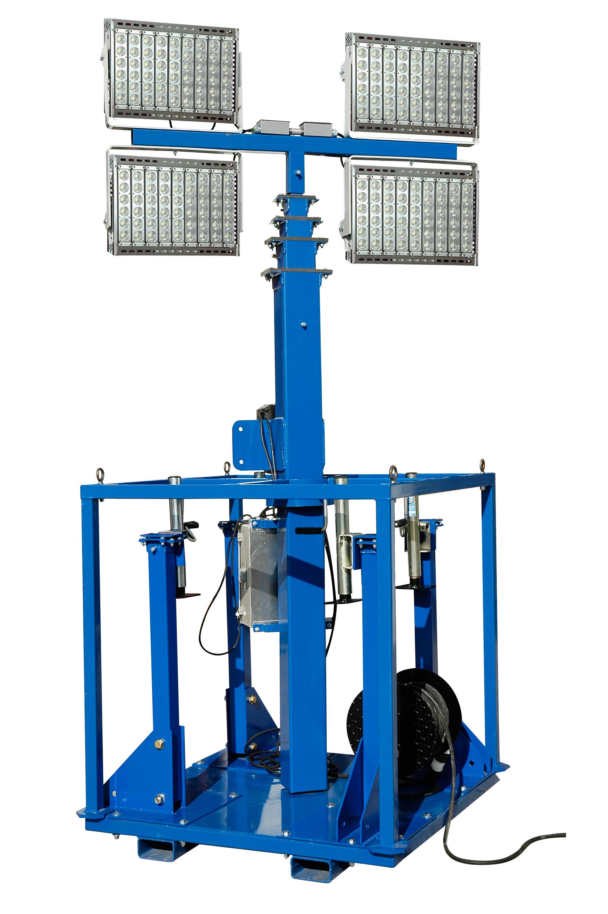 1600 Watt Led Skid Mount Light Mast With Electric Winch