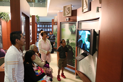 Guests visit the Public Information Center at the World Environment Day Open House at the Church of Scientology of Mexico.