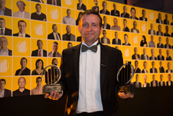 Simon Ward with his trophies for Midlands Region Entrepreneur of the Year 2015 and Technology award wins