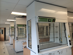 Framingham State University chemistry labs using only filtered fume hoods