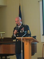DeJonge sharing his Purple Heart Story at Piedmont Crossing Retirement Community