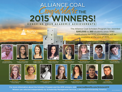 Alliance Coal grants 15 college scholarships to employees' children, and five recognition awards to exceptional teachers.
