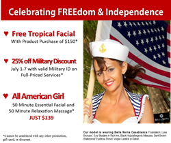 July Spa Specials 25% off Military Savings