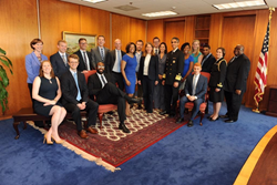The U.S Surgeon General and HHS staff wearing blue for Men's Health Week.