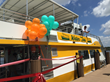 Decorated Water Taxi docked for ribbon cutting