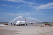 Fountain spray greeting for Emirates flagship © Düsseldorf Airport