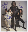 PSA will give away to a lucky San Diego ComicCon visitor a Star Wars 1977 cast photo autographed by stars Harrison Ford, Carrie Fisher, Mark Hamill and Peter Mayhew valued at $1,000.