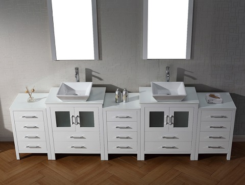 Dior 110  Double Sink Bathroom Vanity Set in White KD 700110 S WH from Virtu USA. HomeThangs com Has Introduced A Guide To Modular Bathroom Vanity