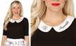 This striking Her Universe black & white stylish top has a subtle nod to everyone's favorite superhero group. Embroidered on the collar is the famous Avengers symbol followed by the line ASSEMBLE.