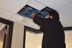Velociti System Engineer installing APs