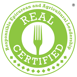 REAL (Responsible Epicurean and Agricultural Leadership) Certified is the trusted mark of excellence for food and foodservice operators committed to holistic nutrition and environmental stewardship.
