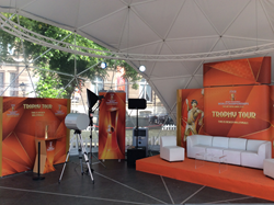 FIVB's trophy backdrop and media backing is on tour with the Beach volleyball teams around The Netherlands.