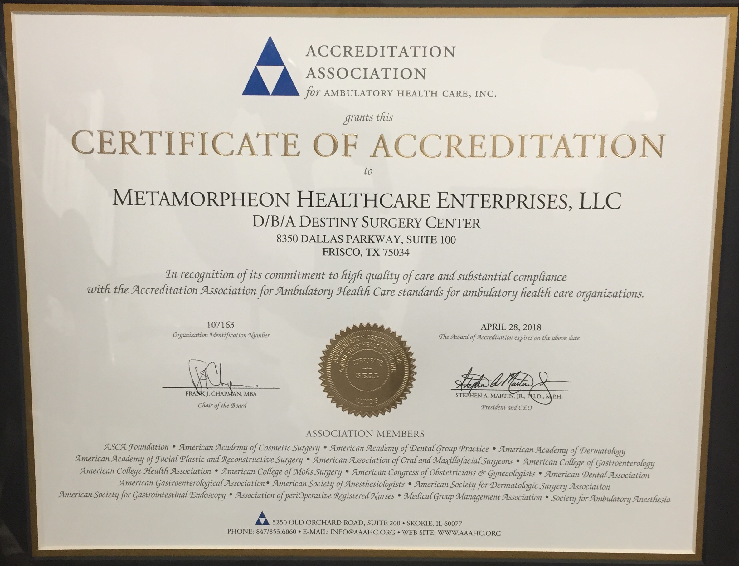 Destiny surgery center of frisco achieves ambulatory health care aaahc certificate for destiny surgery centerambulatory accreditation is extremely important to our team at destiny surgery center xflitez Images