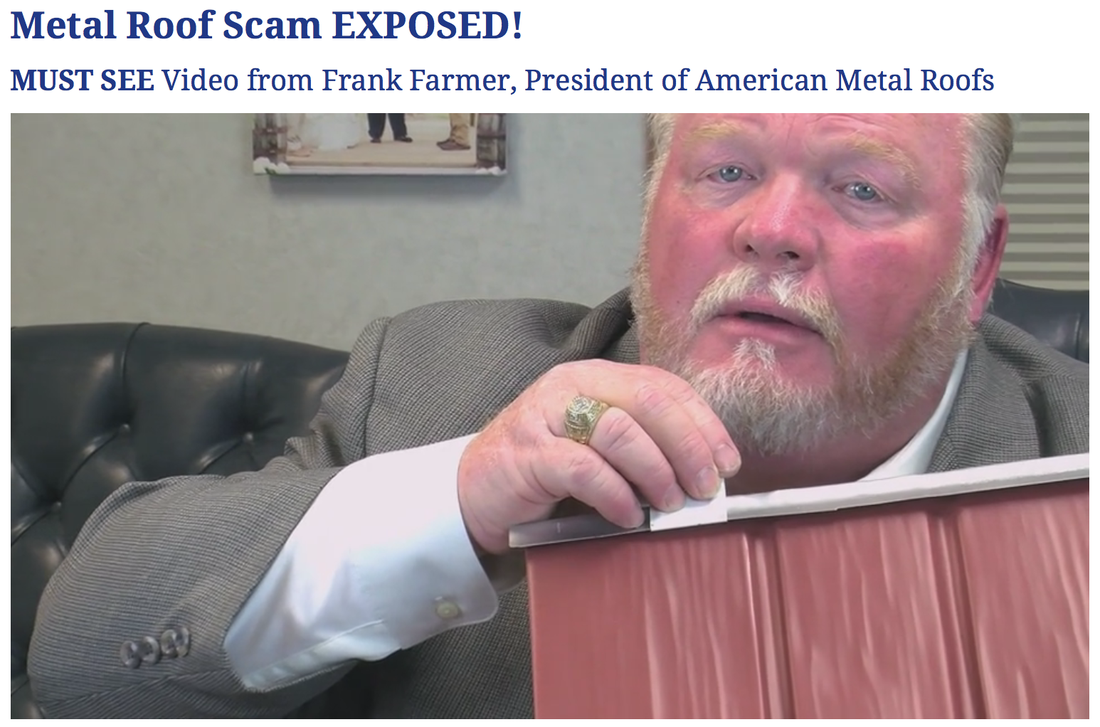 Metal Roof Scam Exposed In Frank Farmer S New Video