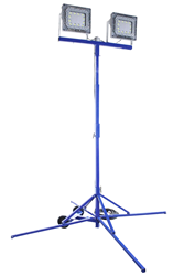 Portable and Adjustable LED Quadpod equipped with Two 150 watt LED Light Heads