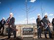 Idaho Governor Butch Otter (l) joins Clif Bar's Kit Crawford (c) and Gary Erickson (r) at the March 12, 2015, ground breaking of Clif Bar Baking Company, Twin Falls, Idaho.