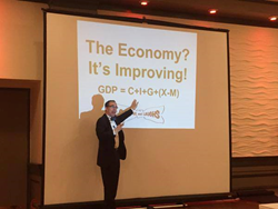 Randolph Savings Bank's Economic Summit keynote speaker, economist Elliott Eisenberg, Ph.D., sharing his insights on the state of our economy.