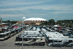 FMCA-member motorhomes fill the grounds at Alliant energy center in 2011.
