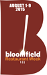 Bloomfield's Fourth Annual Restaurant Week is Set for August 1-9, 2015;  Over Twenty Local Eateries to Offer Budget-Friendly, Fixed-Price Menus