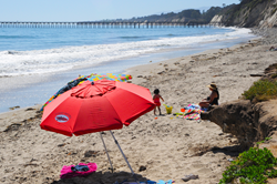 Family recently enjoying Haskell's Beach in Goleta, down the coast from Refugio State Beach, which is set to reopen July 17. All other major Santa Barbara County beaches are open.