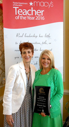 Elizabeth Oody, 2015 Invested in Excellence award winner, with Maureen Wilt, Education Program Manager at Florida Power & Light at the Macy's/Florida Department of Education Teacher of the Year Breakfast in Orlando.