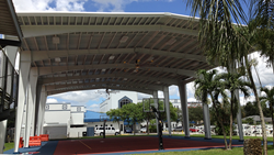 The Howard Tiger Recreation Center, including the steel canopy structure, is a property of the Seminole Tribe of Florida.