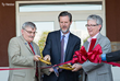 Dr. Ronnie Martin, dean of LUCOM (left), Jerry Falwell, president of Liberty University, and Dr. Thomas Eppes, president of CVFP, cut the ribbon at the opening of the Liberty Mountain Medical Group.