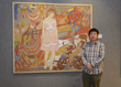 "Artist Jin Rui and his painting ""The Battlefield"""