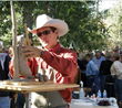 A QuickDraw artist sculpts in the open air at one of the Jackson Hole Fall Arts Festival's most popular events (photo by Jackson Hole Chamber of Commerce).