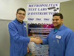 NJ MET's Michael Giannini, right, congratulates 2015 NJ MET Scholarship winner, Eddie Filipovic.  Mr. Filipovic graduated from the Passaic County Technical Institute in Wayne, NJ.