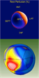 """Comparison of a SPECT image (top) to MRI-based """"normalized"""" micro-regional contractile function (bottom) of the left ventrical in the same patient with coronary artery disease (blue area shows normal heart function)."""