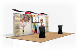 20' Athenia Modular Display w/ Slatwall & Monitor Mount by Displays and Exhibits