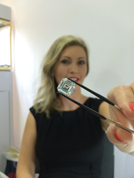 MiaDonna CEO Anna-Mieke Anderson with the World's Largest Lab-Created Diamond | 10.02ct square emerald cut lab-created diamond | E color, VS1 clarity, Very Good cut, Excellent finish