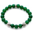 Green Onyx Gemstone Flower Bead Bracelet in 925 Sterling Silver