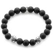 Matte Black Onyx Gemstone Celtic Bead Bracelet in 925 Sterling Silver