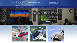 The home page for the new NexAir Avionics website provides easy access to a collection of topics, including information on today's new ADS-B, GPS, Synthetic Vision, Traffic, and Weather technologies.