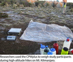 CPWplus Scale at Camp on Mt. Kilimanjaro
