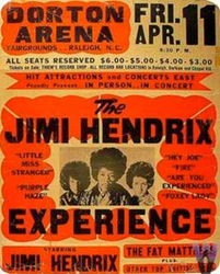 Original 1969 Jimi Hendrix Dorton Arena Raleigh North Carolina Concert Poster