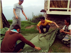 Scientology Volunteer Ministers provide humanitarian relief that included tents, which they help erect in villages in Nepal.