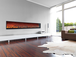Ideal for home or commercial use, Touchstone Emblazon Linear Electric Fireplaces span a wall as a focal point of the room.