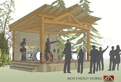 The public is invited to attend New Energy Works Timberframers hand-raising of the Granary District Stage Amphitheater timber frame on August 15th in McMinnville, Oregon