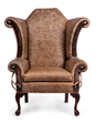 Traditional wing chair styling gets a Western leather update from Buffalo Collection, one of more than 130 functional artists in the 2015 WDC.
