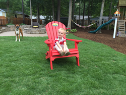 Picture of Leisure Time zoysia grass red chair.