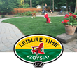 Pictures of children and pets enjoying their Leisure Time zoysia grass.