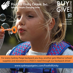 Sydney Paige Buy One Give One Backpacks and Foothill Unity Center Give To Kids In Need