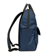 Balani Backpack—side view, blue tafetta