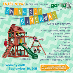 Gorilla Playsets Swing Set Giveaway